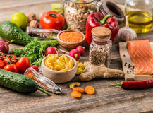 Plenty of foods, healthy organic nutritious diet Royalty Free Stock Image