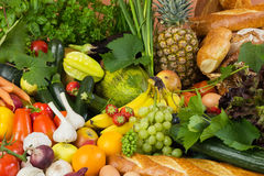 Plenty of fruit, vegetables and bread stock image