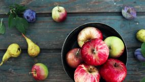 Plenty Of Fruits. Apples and pears stock video footage