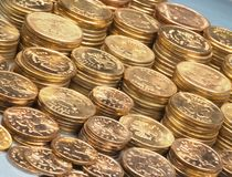 Plenty of gold brilliant coins Royalty Free Stock Photos