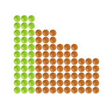 Plenty of green and orange pills shaped in columnar diagram form Royalty Free Stock Images