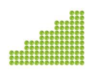 Plenty of green pills shaped in columnar diagram form Stock Photos