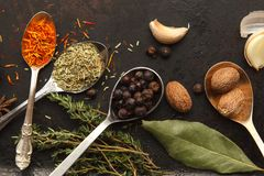 Plenty of herbs and spices on dark table. Plenty of herbs and spices in metal spoons and around on dark old table or background. Horizontal image. Top view. Dark Stock Image