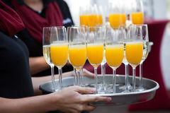 Plenty Juice and Wine Glasses on Tray Royalty Free Stock Photos