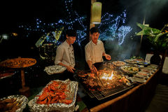 Plenty Of Seefood Grilled At Barbecu Royalty Free Stock Photos