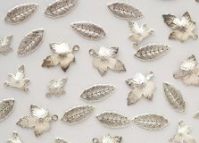 Free Plenty Of Silver Shining Metal Leaves. Jewelry Findings Stock Images - 114202974