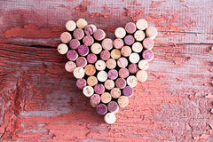 Plenty Of Wine Bottle Corks In Heart Shape Royalty Free Stock Photos