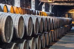 Plenty of wine barrels in Porto area, Portugal Stock Image