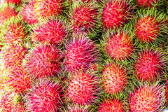 Plenty of rambutan at the market for sell Stock Photo