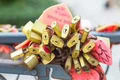 Plenty of Red Heart Lock Romance Love Stock Image