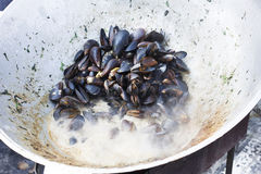 Plenty of seafood, mussels on grill pan Royalty Free Stock Image
