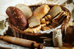Plenty of sliced bread background. Bakery and grocery concept. F stock images