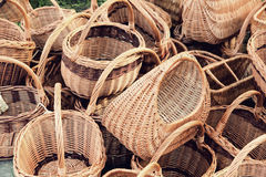 Plenty straw basket taken closeup. Stock Image