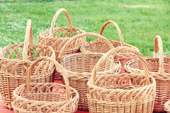 Plenty straw basket taken closeup. Royalty Free Stock Photos