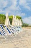 Plenty of sun loungers. On the beach stock photography