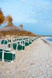 Plenty of sun loungers. Plenty of sun loungers on the beach stock photography