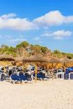 Plenty of sun loungers. Plenty of sun loungers on the beach royalty free stock photo