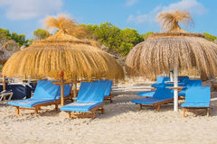 Plenty of sun loungers. Plenty of sun loungers on the beach stock photo