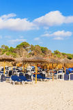 Plenty of sun loungers. Plenty of sun loungers on the beach royalty free stock images