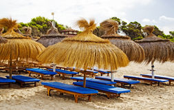 Plenty of sun loungers. Plenty of sun loungers on the beach stock images