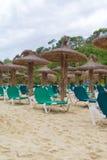 Plenty of sun loungers. Plenty of sun loungers on the beach stock photos