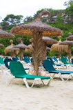 Plenty of sun loungers. Plenty of sun loungers on the beach stock image