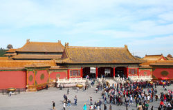 Plenty tourists to see Forbidden City, Beijing Royalty Free Stock Image