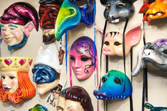 Plenty of venetian carnival masks Stock Photos