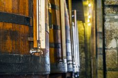 Plenty of wine barrels in Porto area, Portugal Stock Images