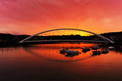 Plentzia bridge at sunset Stock Photography