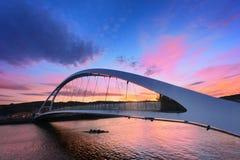 Plentzia bridge at sunset Stock Images