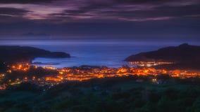 Plentzia and Gorliz villages. At night royalty free stock photo