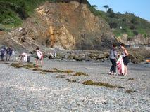 PLERIN_FRANCE, 08 LIPIEC, 2017: Ludzie zbiera śmieci na plaży Fotografia Royalty Free