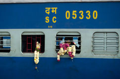 Pèlerin sur le train, Inde Photo stock