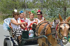 Pèlerins sur leur chemin à l'EL Rocio d'église de pèlerinage Photo stock