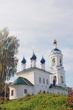Ples镇,俄罗斯看法  圣徒巴巴拉教会 免版税库存图片