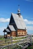 Ples镇,俄罗斯看法  木的教会 库存照片