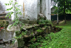 Ples, Russia. The foundation of the old church near the Volga River. Summer. Closeup. Royalty Free Stock Photos