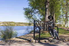 PLES , RUSSIA - MAY 9: A bronze sculpture on the banks of the Volga Girl May 9, 2015. Ples - Golden Ring of Russia royalty free stock photo