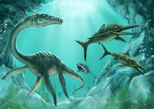 Plesiosaur,ichthyosaur and shark stock illustration
