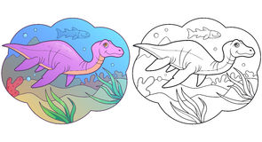Plesiosaur swims in the sea Royalty Free Stock Images