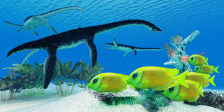Plesiosaurus Coral reef Royalty Free Stock Photo