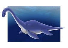 Plesiosaurus de Dinosaurus na profundidade de água, ilustração dos desenhos animados ilustração do vetor