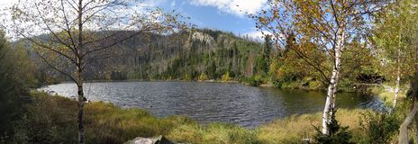 Plesne sjö i Sumava i den Sumava nationalparken Arkivbild