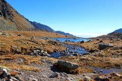 Pleso de Hincovo, Tatras alto, Eslováquia Imagens de Stock