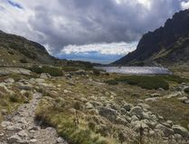 Pleso nad Skokom, beautiful mountain lake in Mlynicka Dolina Valley with footpath trail in High Tatras mountain, Vysoke Tatry , royalty free stock photo