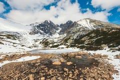 Pleso Skalnate, λίμνη στα υψηλά βουνά Tatras Στοκ Φωτογραφία