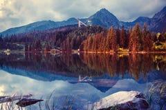 Pleso Strbske λιμνών στο υψηλό βουνό Tatras, Σλοβακία Ευρώπη Στοκ Φωτογραφία