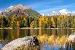 Pleso Strbske λιμνών βουνών, υψηλό Tatras, Σλοβακία Στοκ Εικόνες