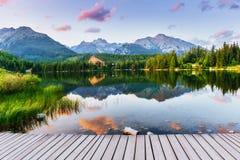 Pleso Strbske λιμνών στο υψηλό βουνό Tatras, Σλοβακία Στοκ Φωτογραφία